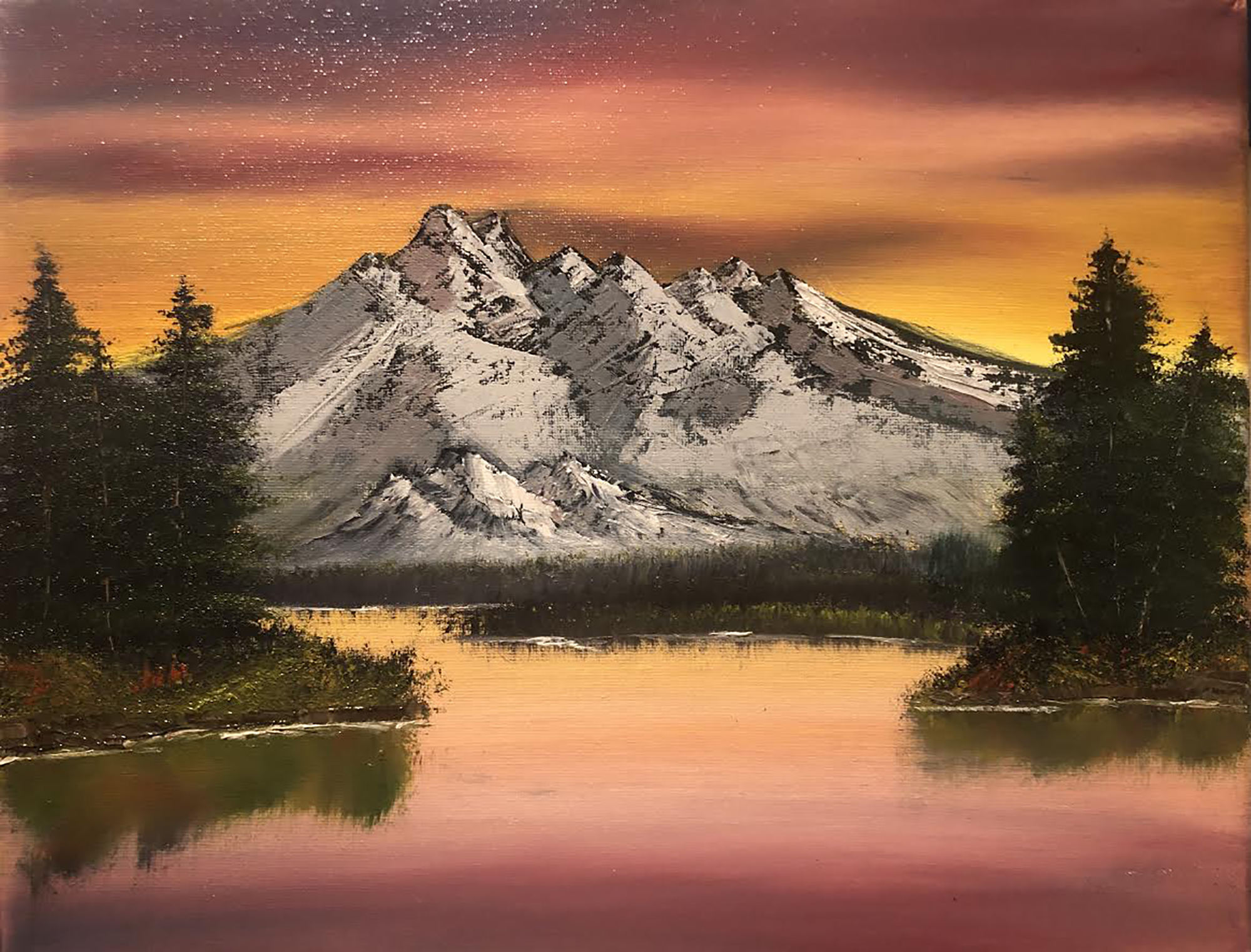 Award of Excellence 1st. Kate Van Hooser, Sunset and mountains oil painting