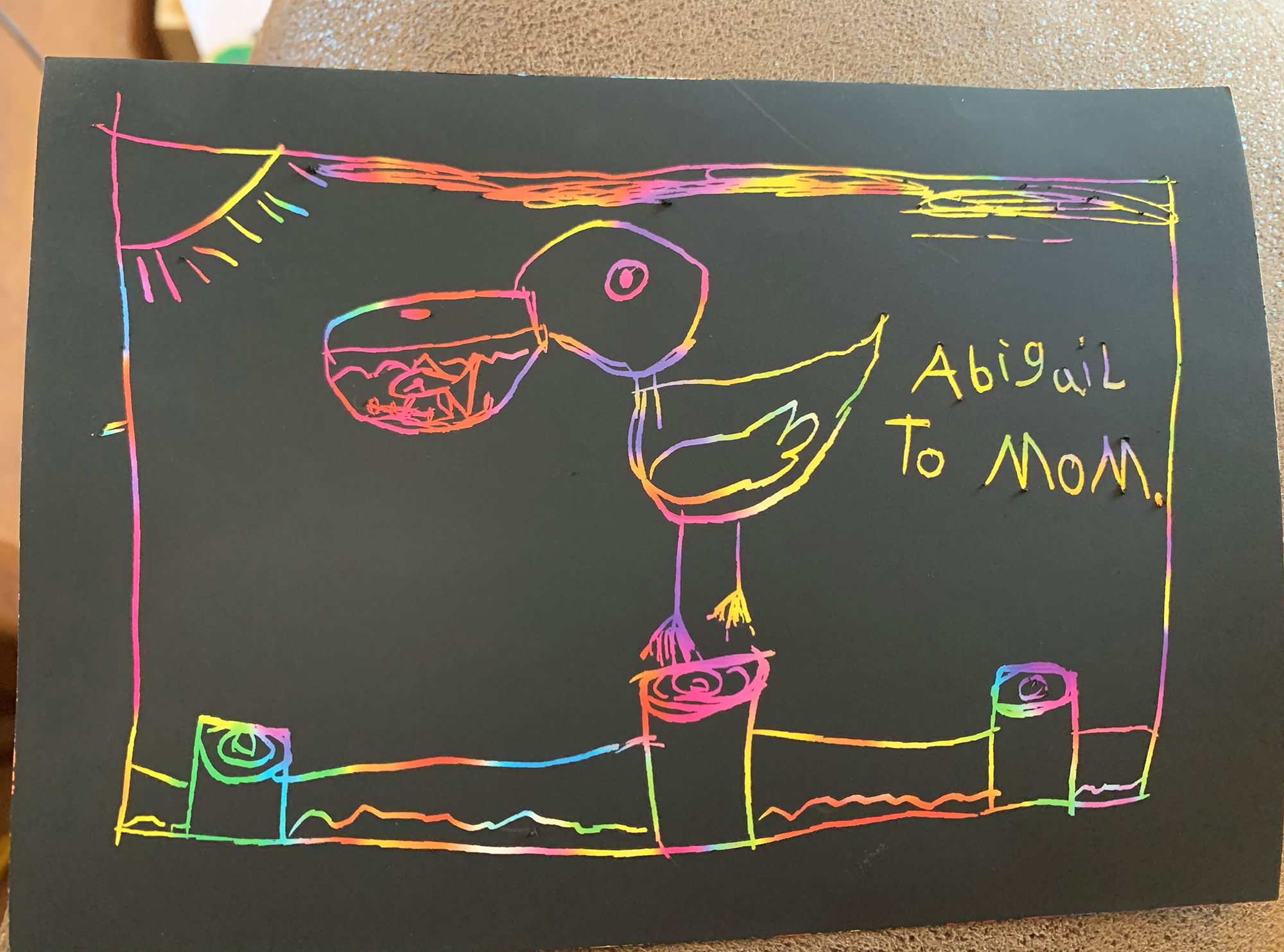 1st. Abigail  Bruhn, pelican drawing for mom