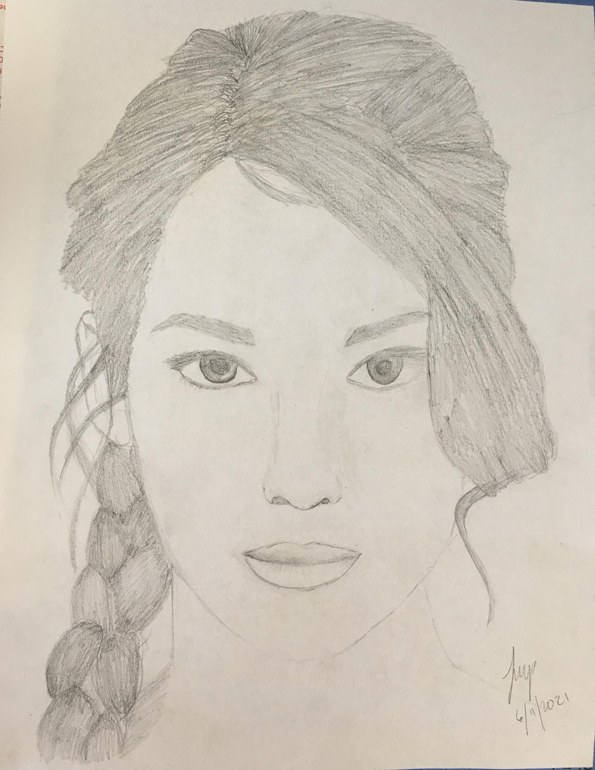 3rd. Tamar Parker, Pencil Drawing of Katniss Everdeen