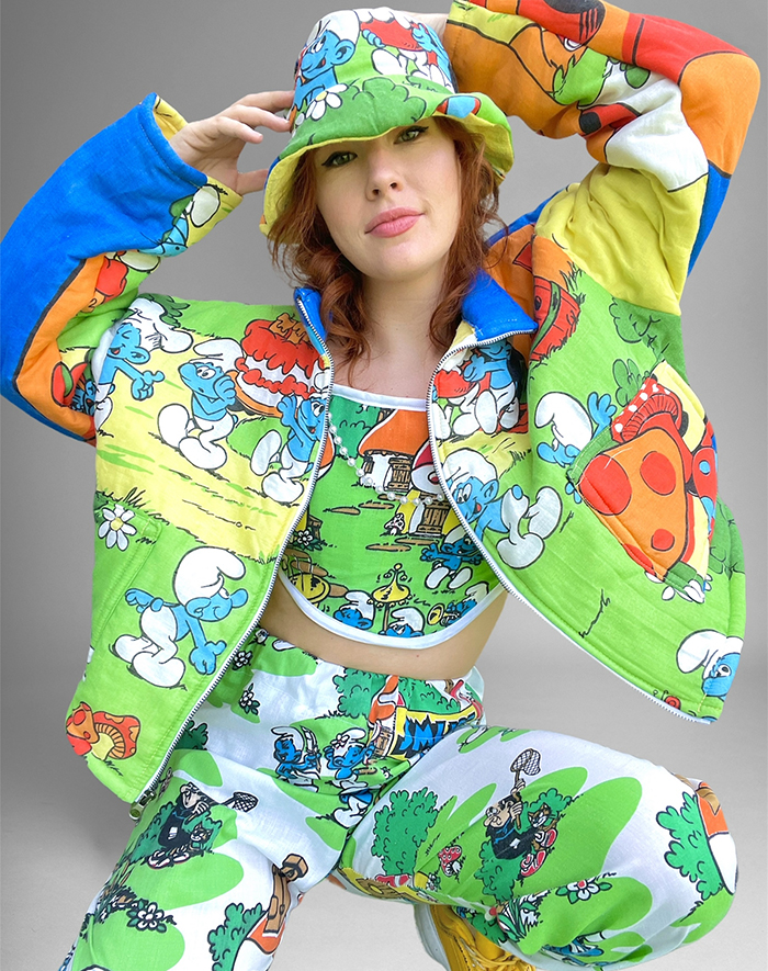 1st. Katie Bettini, clothes made from vintage kids bedding and sleeping bags Smurfs