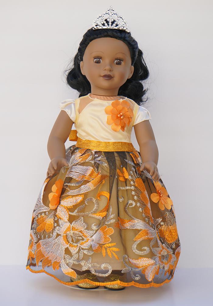 1st. Oksana Grinchenko, Princess Ballroom Dress  for 18 inch dolls handmade  Orange
