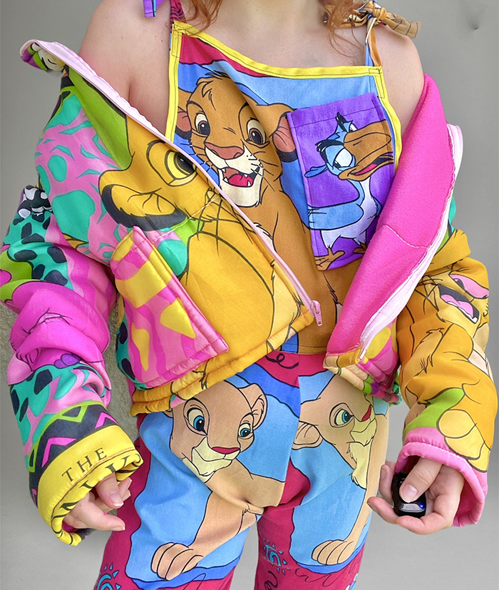 2nd. Katie Bettini, clothes made from vintage kids bedding and sleeping bags Lion King