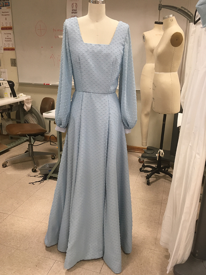2nd. Taylor Boothe, Blue Full Length Gown with Bishop Sleeves fully lined 1