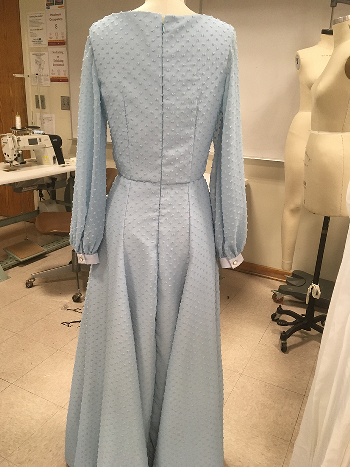 2nd. Taylor Boothe, Blue Full Length Gown with Bishop Sleeves fully lined 2