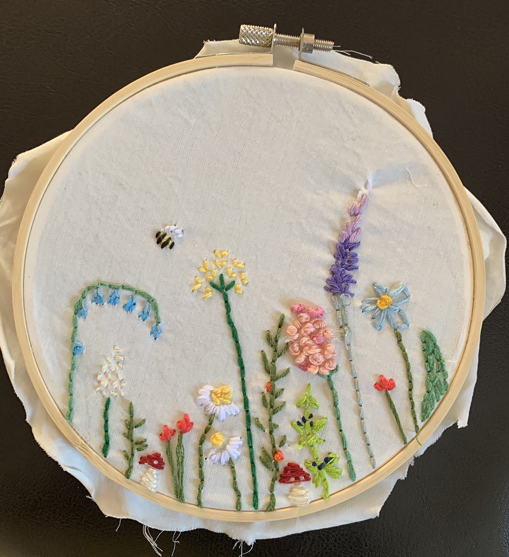 BOS, Embroidery 1st. Tamar Parker, Needle Art Embroidery of a Garden Scene